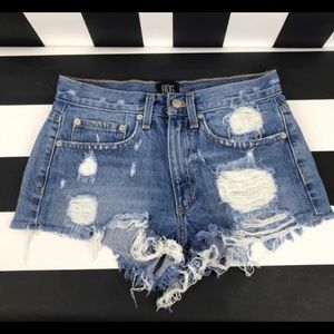 UO BDG mid-rise distressed denim shorts